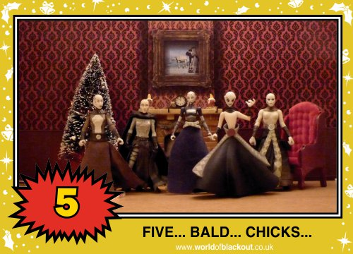 On the sixth Wookiee Life Day, the Dark Side gave to me: FIVE - BALD - CHICKS...
