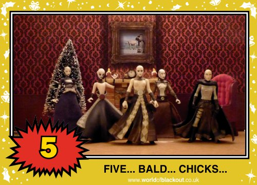 On the eighth Wookiee Life Day, the Dark Side gave to me: FIVE - BALD - CHICKS...