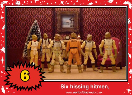 On the ninth Wookiee Life Day, the Dark Side gave to me: Six hissing hitmen...