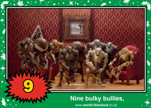 On the eleventh Wookiee Life Day, the Dark Side gave to me: Nine bulky bullies...