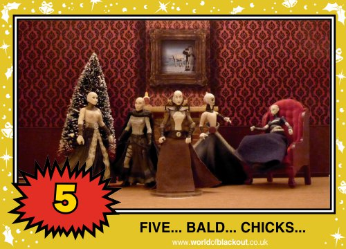 On the eleventh Wookiee Life Day, the Dark Side gave to me: FIVE - BALD - CHICKS...