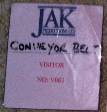 The JAK Productions visitor's pass.