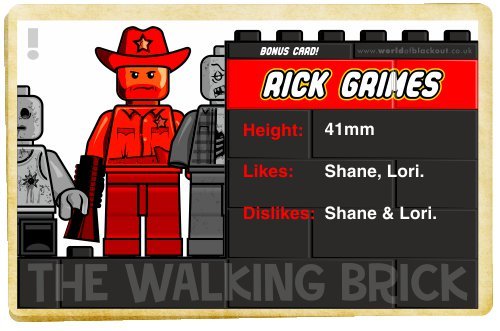 Slightly Inappropriate Lego Bonus Card: Rick Grimes (Book Cover)