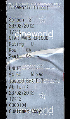 Phantom Menace 3D ticket